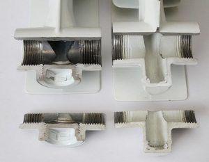Срезы литого алюминиевого радиатора – монолитная конструкция