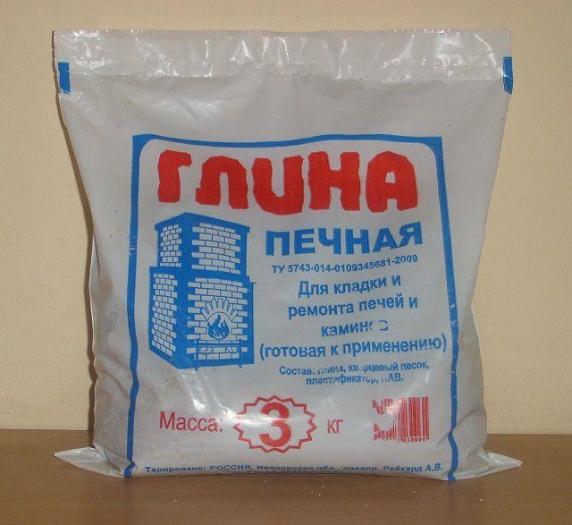 Упаковка очищенной глины для приготовления кладочного печного раствора