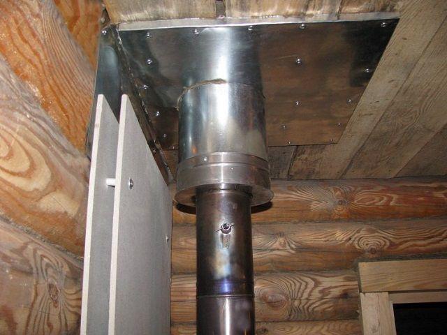 Любая проходка металлической дымоходной трубы через потолочное перекрытие или стены подразумевает использование специальных гильз большего диаметра.