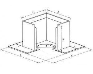 Основные размеры проходного короба для металлического дымохода