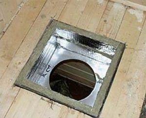 Эта коробчатая проходка изготовлена из плотной фольгированной минеральной ваты