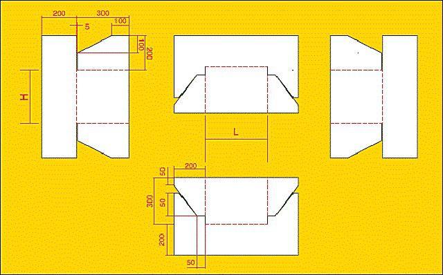 Пример выкройки для подготовки деталей фартука из гибкого ендовного гидроизоляционного полотна