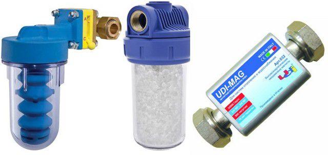 Пример нескольких типов умягчителей воды для систем отопления