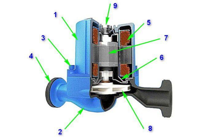 Принципиальная схема устройства циркуляционного насоса с «мокрым ротором»