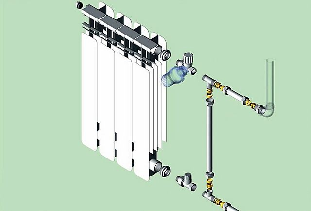 Сборочный чертеж узла обвязки батареи из металлопластиковых труб