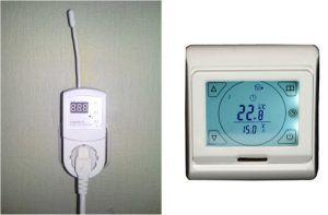 Различные типы термостатических комнатных регуляторов – съемный, для установки в розетку (слева) и стационарной установки (справа)