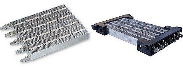 Примерно такие керамические нагревательные элементы установлены на электрических тепловентиляторах