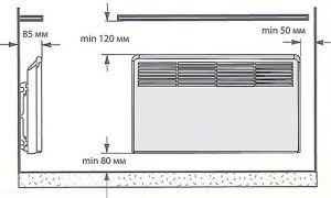 Пример – оговоренные производителем минимальные расстояния, учитываемые при установке конвектора. Для иных моделей допуски могут быть и совершенно другими.