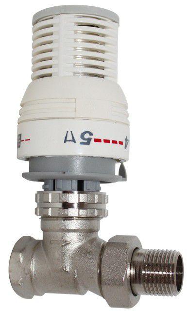 Прямой термоклапан с установленной на нем автоматической термостатической головкой