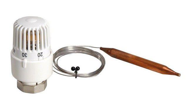 Работой двухходового термоклапана управляет специальная термоголовка с выносным температурным датчиком