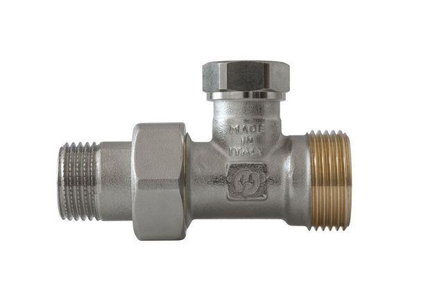 В качестве балансировочного клапана рекомендуется смонтировать подобныйблок-кран, который часто ставится на «обратку» радиатора