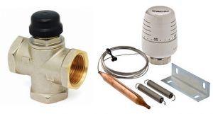 Необходимый комплект: трехходовой смесительный термоклапан + термоголовка с выносным накладным датчиком