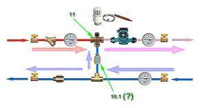 Похожая схема, но использован уже трехходовой термоклапан