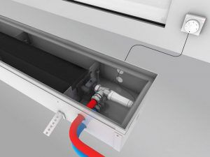 Термоголовки с выносным пультом управления и термодатчиком часто используются при монтаже скрытых конвекторов отопления
