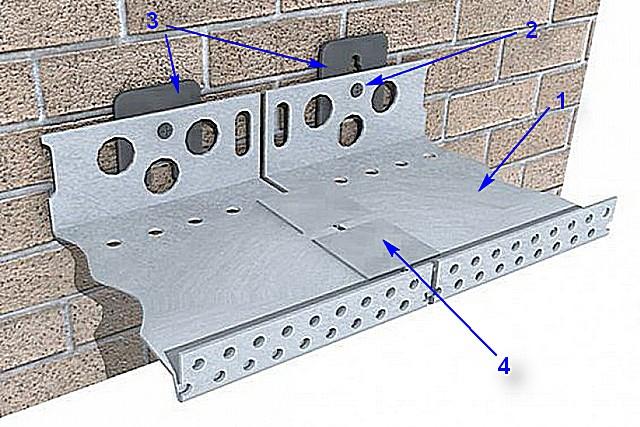 Схема крепления цокольного профиля и стыковки соседних его деталей