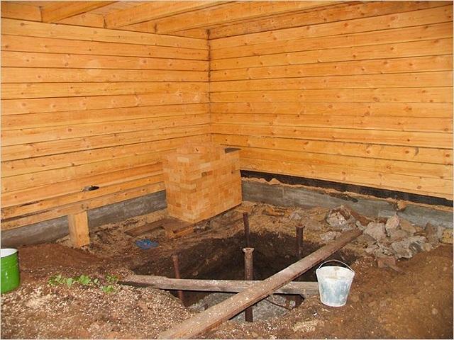 Котлован для постройки фундамента под печь.