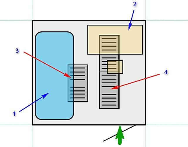 Схема комнаты и задуманное расположение нагревательных пленочных элементов