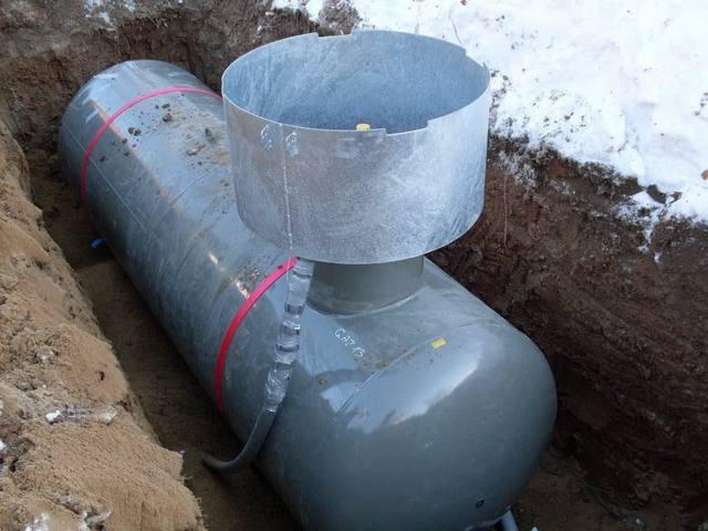 Установка вместительного газгольдера нередко позволяет запасаться «голубым топливом» сразу на весь отопительный сезон