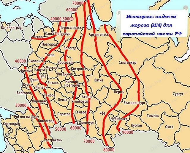 Карта-схема Европейской части России с нанесенными изотермами «индекса мороза»