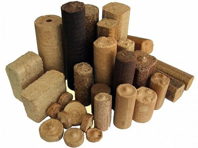 Различные типы и формы топливных брикетов.