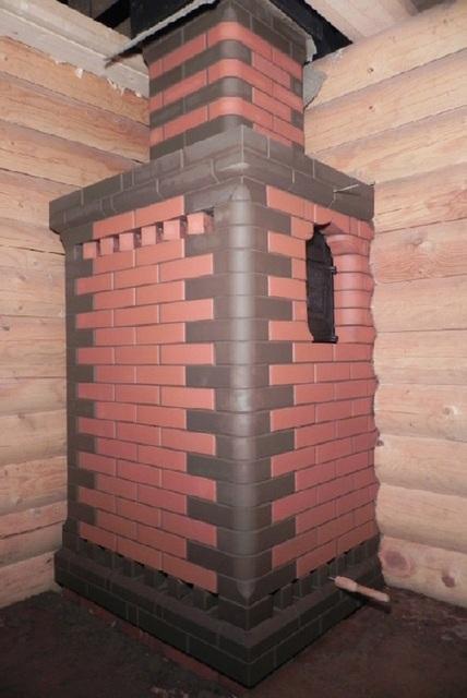 Печь для русской бани «Тройка», облицованная кирпичом.