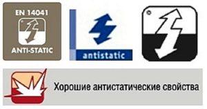Знаки, используемые для обозначения материалов, которым приданы антистатические качества
