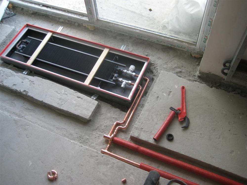 Монтаж и установка внутрипольного конвектора