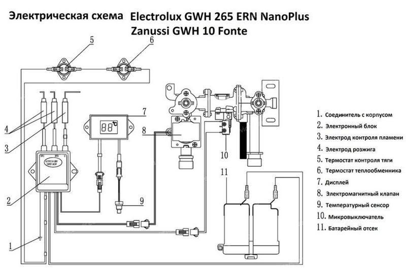 Электросхема газовой колонки Electrolux