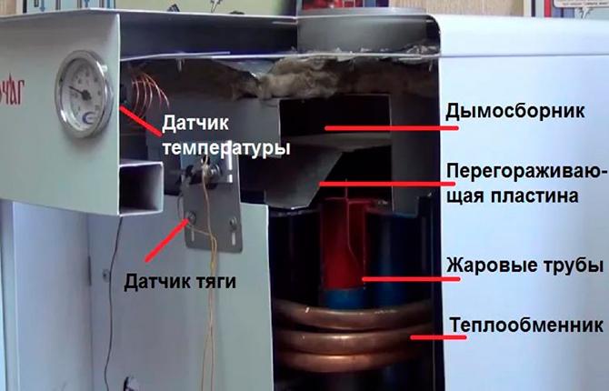 Датчик температуры и тяги внутри котлоагрегата